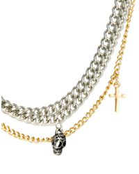 ASOS - Metallic Necklace with Heavy Chain and Pendants for Men - Lyst