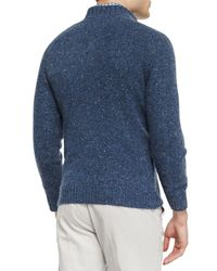 Peter Millar Blue Donegal Wool Henley Sweater for men
