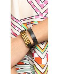 Tory Burch For Fitbit Fret Double Wrap Bracelet - Black/Shiny Gold