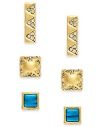 House of Harlow 1960 Metallic Gold-tone Imitation Turquoise And Pavé Stud Earring Set