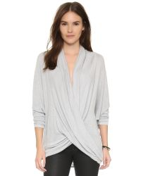 Free People - Gray Drape Front Hacci Top - Lyst