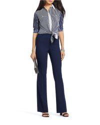 Lauren by Ralph Lauren Blue Petite Striped Crepe Shirt