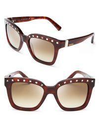 Valentino Brown Rockstud Square Oversized Sunglasses