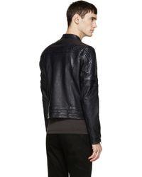 Diesel Black Gold - Blue Navy Leather Biker Jacket for Men - Lyst