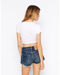 ASOS - White Crop Top With Wrap Front In Rib - Lyst