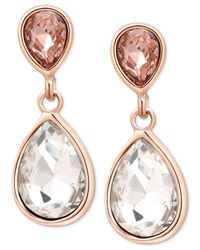 Tahari | Metallic T Rose Gold-tone Crystal Drop Earrings | Lyst