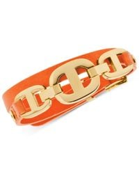 Michael Kors | Orange Gold-Tone Maritime Leather Bracelet | Lyst
