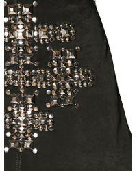 Saint Laurent Black Studded Suede Mini Skirt