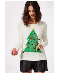 Missguided | White Christmas Tree Diy Knitted Jumper | Lyst