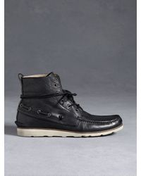 John Varvatos Black Lugger Boat Boot for men