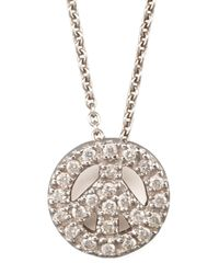 Roberto Coin | Metallic Pave Peace Sign Necklace | Lyst