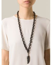 Loree Rodkin - Black Diamond Feather Chain Necklace - Lyst