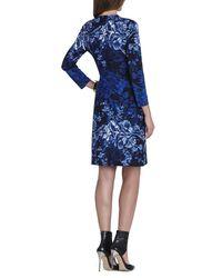 Bcbgmaxazria Adele Printed Wrap Dress In Blue Lyst