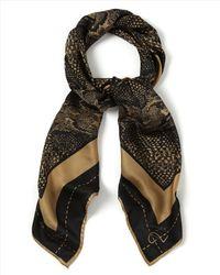 Jaeger - Brown Silk Tyre Snake Print Scarf - Lyst