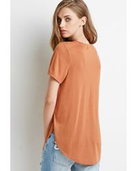Forever 21 - Orange Curved Hem Tee - Lyst
