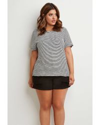 Forever 21 - Black Plus Size Striped Cuff-sleeve Tee You've Been Added To The Waitlist - Lyst