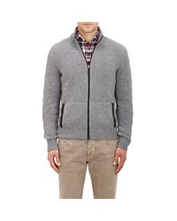 Luciano Barbera Gray Suede-trimmed Cardigan for men