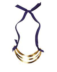 Herve Van Der Straeten - Metallic Goldplated Cutout Ribbon Tie Necklace - Lyst