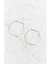 Urban Outfitters - Metallic 18k + Sterling Silver Delicate Hexagon Hoop Earring - Lyst