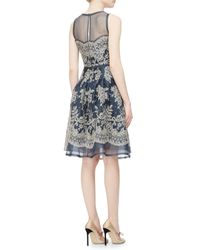 Carolina Herrera Blue Lace-Embroidered Organza Cocktail Dress