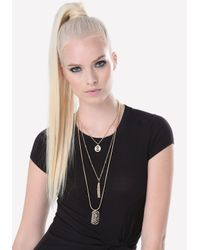 Bebe - Metallic Logo Layered Tag Necklace - Lyst
