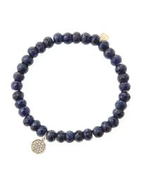 Sydney Evan Black 6mm Faceted Sapphire Beaded Bracelet With Mini Yellow Gold Pave Diamond Disc Charm (made To Order)