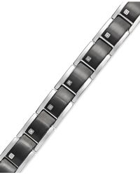 Macy's | Metallic Men's Diamond Link Bracelet In Stainless Steel (1/10 Ct. T.w.) for Men | Lyst