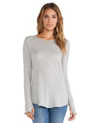 Enza Costa - Gray Tissue Jersey Long Sleeve Raglan - Lyst