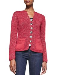 Pure Handknit - Red Fall Breeze Cardigan W/ Jeweled Buttons - Lyst