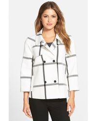 Halogen | White Double-Breasted Raglan-Sleeve Jacket | Lyst