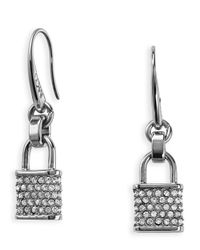 Michael Kors - Metallic Pave Padlock Charm Fishwire Earrings - Lyst