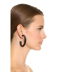Kenneth Jay Lane | Horn Hoop Earrings - Black | Lyst