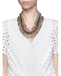 Venna | Multicolor Crystal Spike Fringe Collar Necklace | Lyst