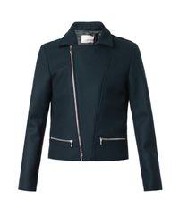 Richard Nicoll Green Melton-Wool Biker Jacket for men