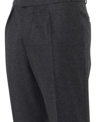 Burberry Prorsum Gray Pleated-Front Wool Cashmere-Blend Trousers for men