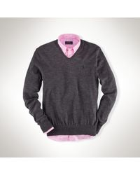 Polo Ralph Lauren | Gray Slim-fit Merino V-neck Sweater for Men | Lyst