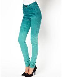 Just Female - Green Stoke Skinny Jean in Ocean Wash Dip Dye - Lyst