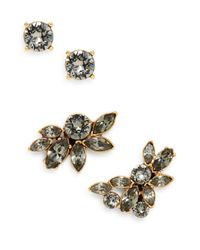 Oscar de la Renta | Metallic Navette Black Swarovski Crystal Cuff Earrings/Goldtone | Lyst