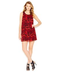 Kensie | Red Sleeveless Printed Shift Dress | Lyst