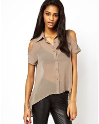 Little Mistress | Brown Cold Shoulder Blouse | Lyst