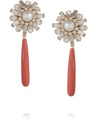 Elizabeth Cole | Pink Gold-plated Swarovski Crystal, Faux Pearl And Lucite Earrings | Lyst