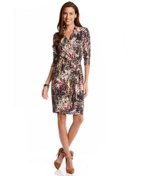 Karen Kane - Multicolor Floral Print Cascade Faux Wrap Dress - Lyst