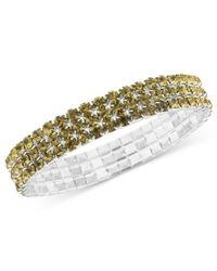 2028 | Metallic Silver-tone Colorado Crystal Stretch Bracelet | Lyst