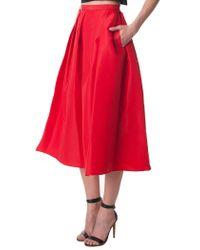 Tibi - Red Silk Faille Full Skirt - Lyst