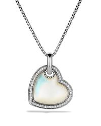 David Yurman Metallic Cable Heart Pendant With Mother-Of-Pearl And Diamonds On Chain