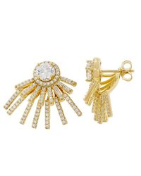 Pori - 18k Yellow Gold Pltd Sterling Silver Circle Cz Jacket Earrings - Lyst