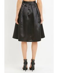 Forever 21 - Black Contemporary Sateen Pleated Midi Skirt - Lyst