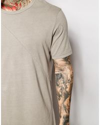 ASOS Gray Super Longline T-shirt With Seam Detail In Longline for men
