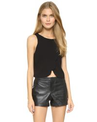 Club Monaco | Black Genero Scalloped Crop Tank - Pink Pearl | Lyst