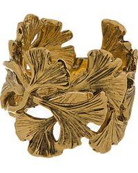 Aurelie Bidermann - Metallic Gold Plated Ginkgo Feathers Ring - Lyst